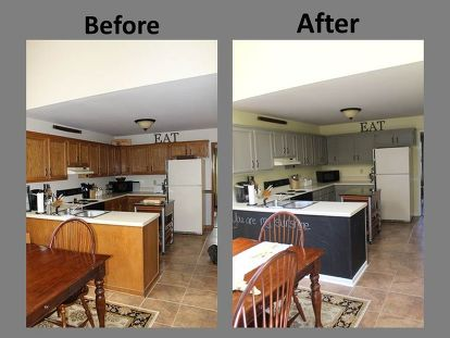 Yellow Gray Kitchen Remodel Before After Chalk Paint Home Decor Design