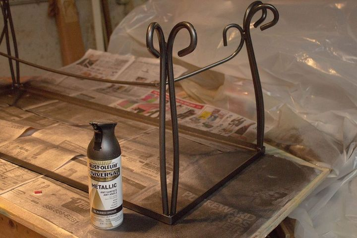 The frame was painted with Rust-oleum, metallic, oil rubbed bronze paint.