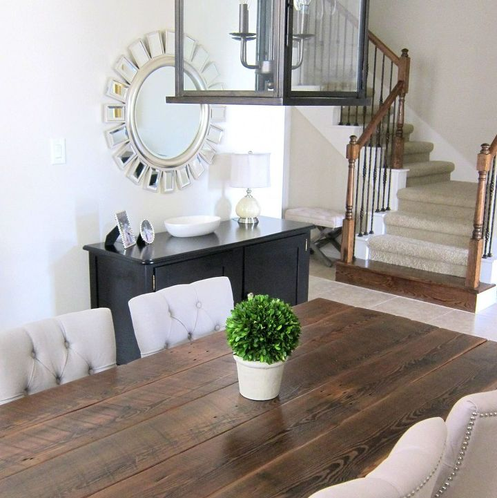 our dining room table we made from reclaimed wood, dining room ideas, diy, home decor, how to, painted furniture, rustic furniture, woodworking projects, Here is our finished dining table