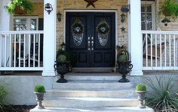 spring porch, curb appeal, porches, seasonal holiday decor, wreaths, Front view from the street