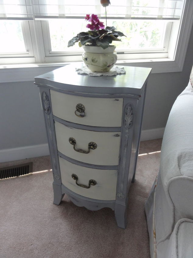 after some wood filler and wood glue she got a new dress of ascp paris grey and old, painted furniture