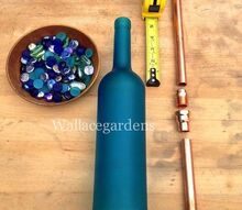 wine bottle watering device with copper tubing for container gardens, kitchen design, repurposing upcycling, A few of the basic ingredients Choose a colored wine bottle or a clear bottle and some glass pearl gems Note how the pieces of copper will come together for the final product