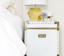 pottery barn ludlow trunk knock off, bedroom ideas, painted furniture, And that s it The chest fits perfectly inside and it s completely removable so if I want to use it as an end table again all I have to do is pull it out Super easy