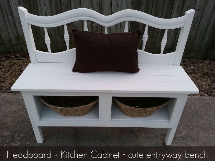 Headboard And A Kitchen Cabinet Make Great Bench With Storage Diy Design