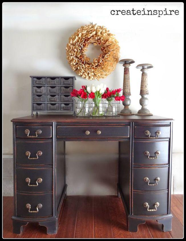 refinished antique desk, painted furniture, Voila A keeper for sure - Refinished Antique Desk Hometalk