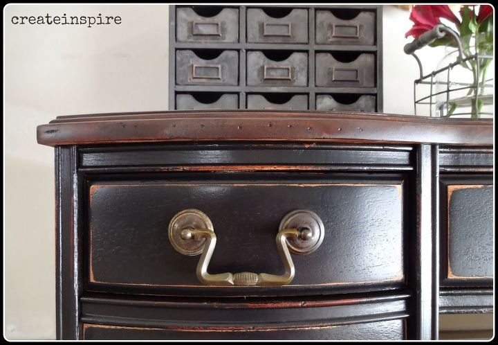 I actually loved (and so did my client) the original pulls. so I just cleaned them up and kept them.  One was missing so I just replaced the pull on the middle drawer with two antique knobs I had on hand.