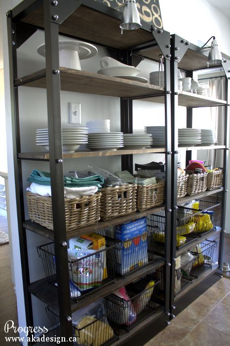 Open kitchen storage works if you don't have a pantry