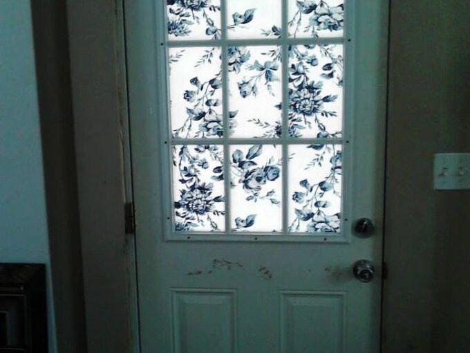 covering a half glass front door, doors