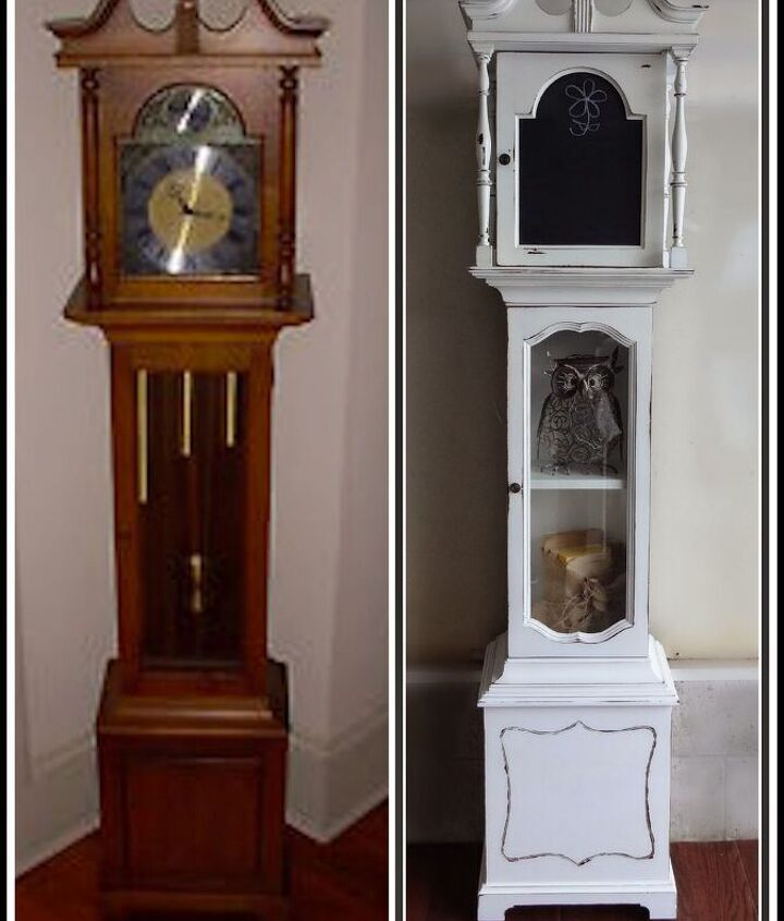 repurposed grandfather clock, chalkboard paint, painted furniture, repurposing upcycling