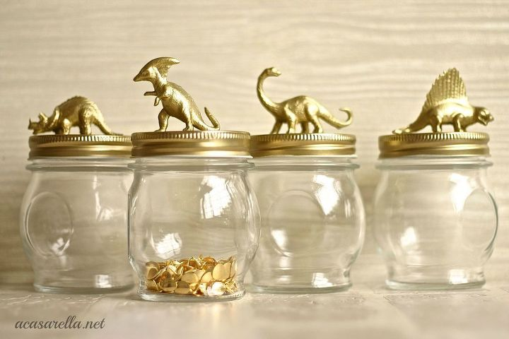 Corral odds and ends on your desk with glass jars.
