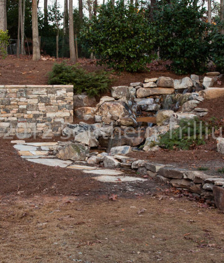 A look at the completed waterfall and walls.  The next photo is a before photo from near the same angle.