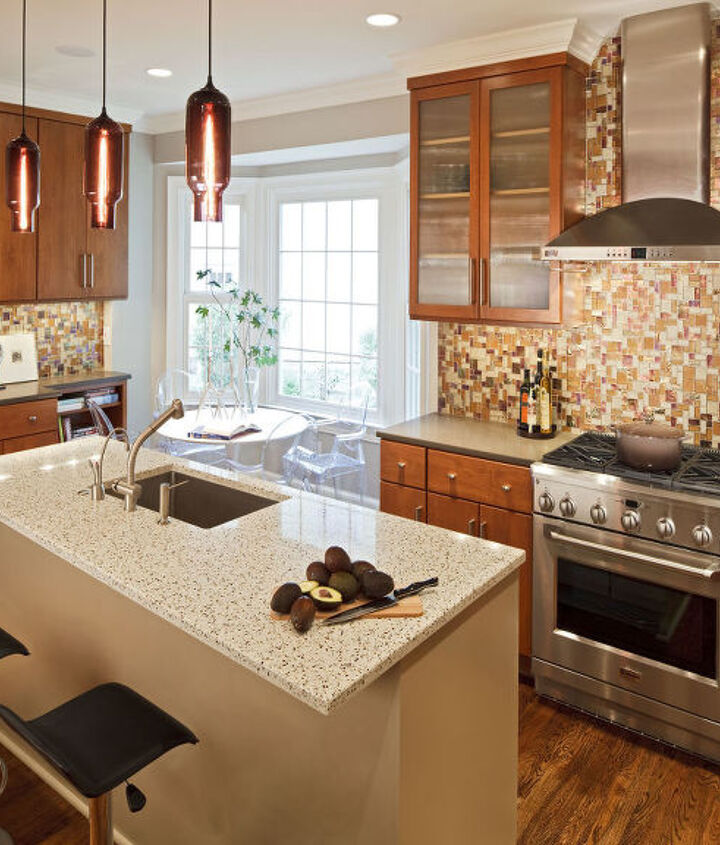 Open plan kitchen replaces once cramped and closed-off space.