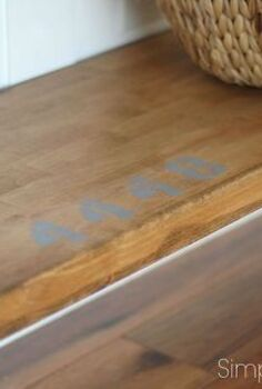 industrial console table tutorial, painted furniture, Here s a great close up of our industrial console table You can really see how the stain treatment gave the new butcher block an aged patina
