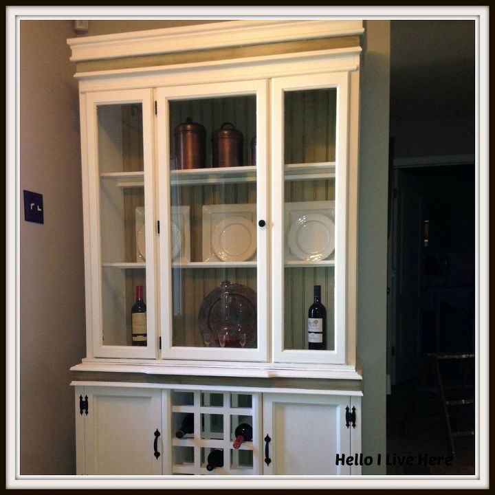 Finished DIY China Hutch Make Over Completed by Hello I Live Here.