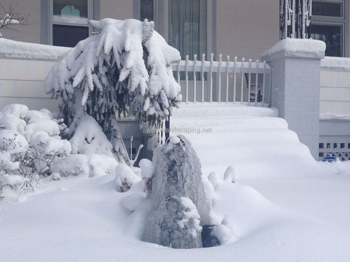 Garden Fountains, Fountain Contractor, Monroe County, Rochester NY. Here's my Fountain the day after we got 16.5 inches of snow. Nothing seems to stop it. So easy to take care of........Do you have room in your garden for a fountain?