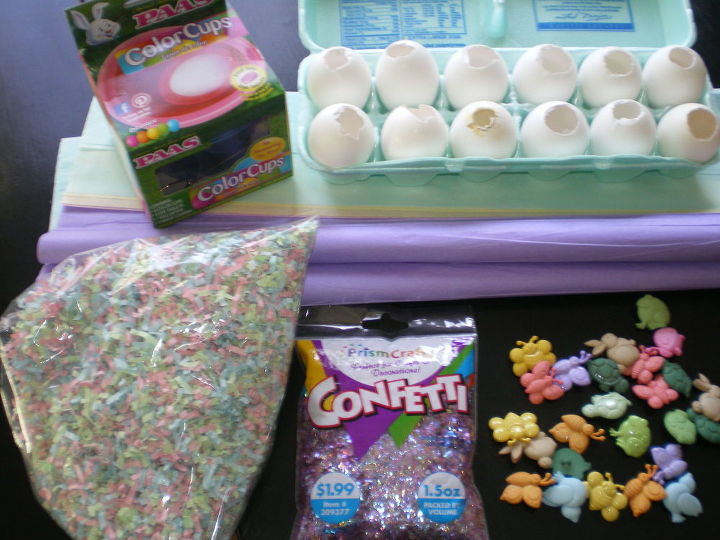 confetti filled real easter eggs, crafts, decoupage, easter decorations, seasonal holiday decor, We used paper straw for Easter baskets and cut it into small pieces We added sparkly confetti to the mix You can fill them with whatever fits into the opening so you can be creative
