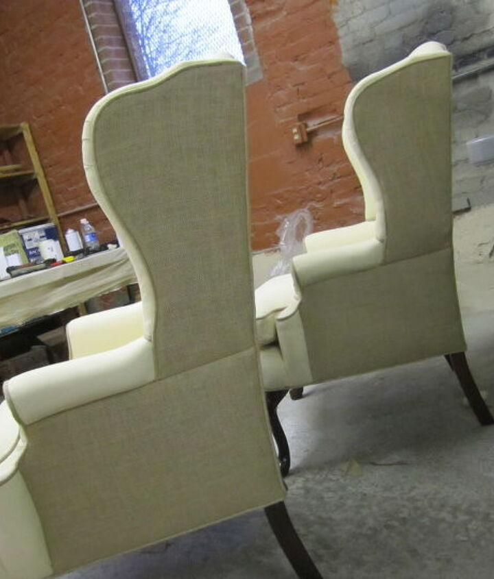 my first custom work for my first customer after i moved from my garage these wing, painted furniture, reupholster