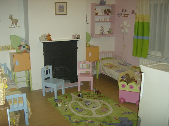 farmyard themed room for toddler boy and girl twins, bedroom ideas, home decor, painted furniture, Blue side for my boy and a pink side for my girl