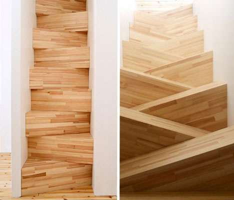 Swedish architects thought this was a good solution for a narrow staircase - criss crossing stairs made of pine boxes!