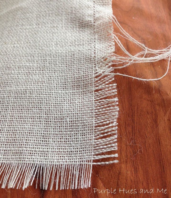 Burlap is the best, inexpensive, go to fabric for making a cute, trendy tablerunner.  And fringing is so easy to do.  Start by pulling out a thread where you want to start and go from there removing more fiber threads for the fringe.