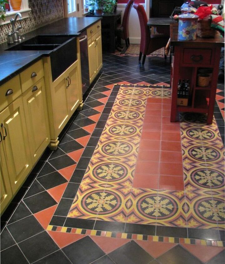 This unique floor was custom ordered from a small shop in Mexico. It is a concrete tile with a hand made marble finish. This tile has been used in Spain and Mexico for generations in fine homes and public buildings.