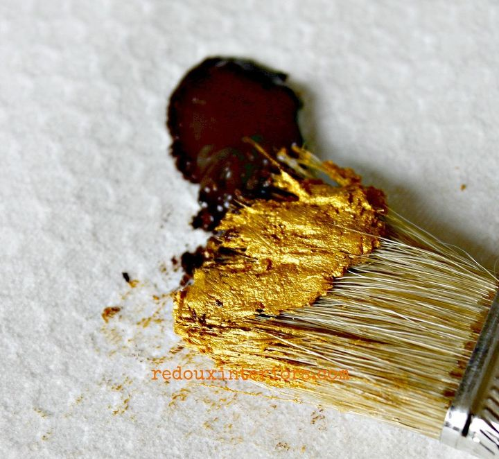 I mixed equal parts CeCe Caldwells Aging Cream with El Dorado gold metallic wax. I use a small chip brush to mix and apply the wax.