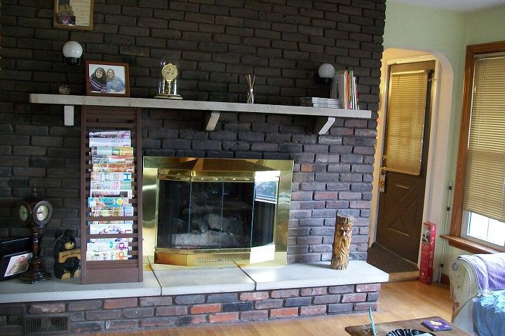 tired, outdated fireplace BEFORE