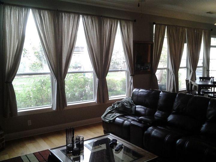 drop cloth curtains, home decor, reupholster, window treatments, windows