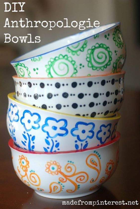 diy anthropologie bowls, crafts, painting