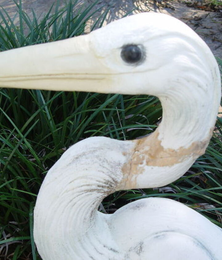 q concrete heron with broken neck, concrete masonry, crafts