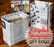 recycled newspaper gift bags, crafts, repurposing upcycling