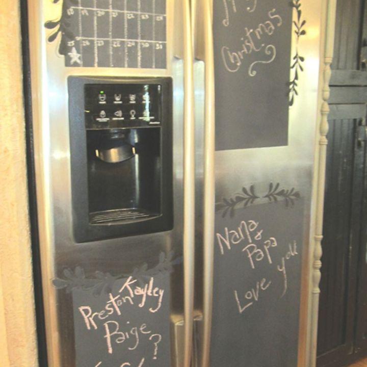 sk s hate of shiny fridge s, appliances, chalkboard paint, diy, kitchen design, painting
