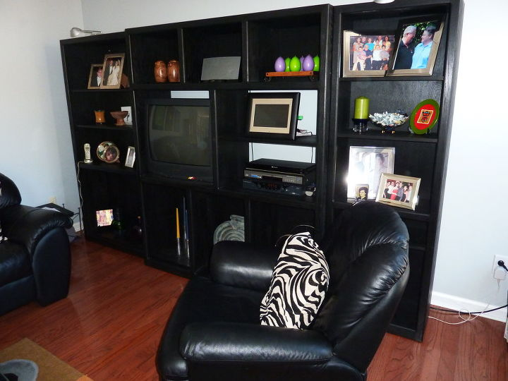 BEFORE- Bookcase type entertainment center with Tube TV