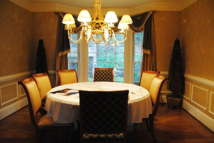 this tired 15 year old dining room needed a facelift even the old toparies were, dining room ideas, home decor, Before