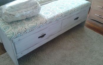old hotel credenza made into entryway or bed bench.