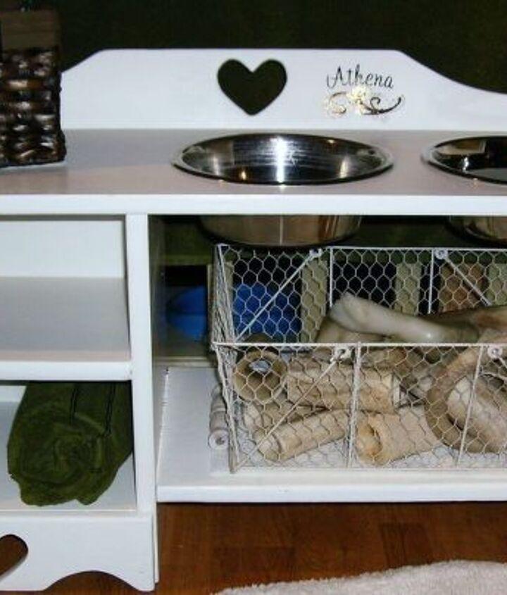 dog s feeding bench, repurposing upcycling