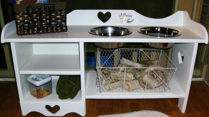 dog s feeding bench, repurposing upcycling