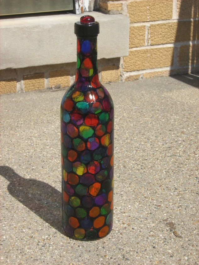Faux Stained Glass Technique Turns Trash Into Treasures Hometalk Gorgeous Stained Glass Wine Bottle Decorations