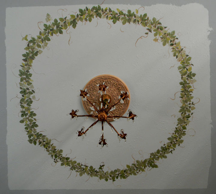 Hand painted 5 1/2 foot ceiling wreath