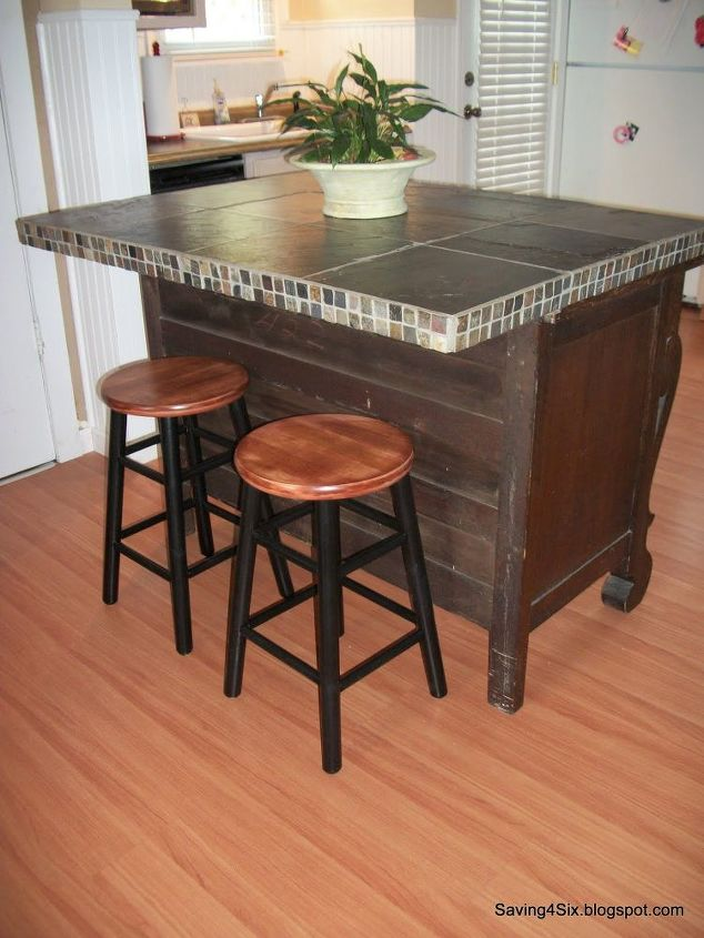 Buffet Turned Island Kitchen Design Painted Furniture Repurposing Upcycling