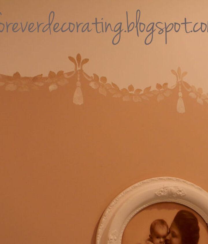 A close-up of the stencil scallops.