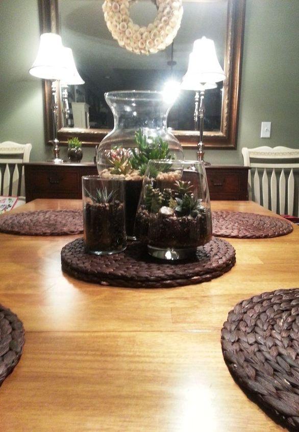 succulent terrarium centerpiece, flowers, gardening, home decor, succulents, terrarium