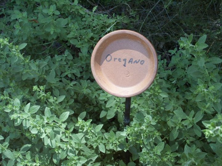 plant labels, cleaning tips, gardening, pot saucer on stake
