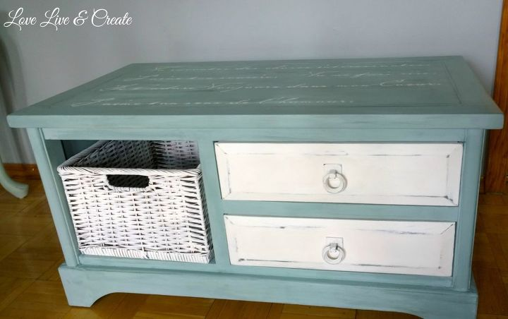 blue white coffee table with romantic french script, painted furniture