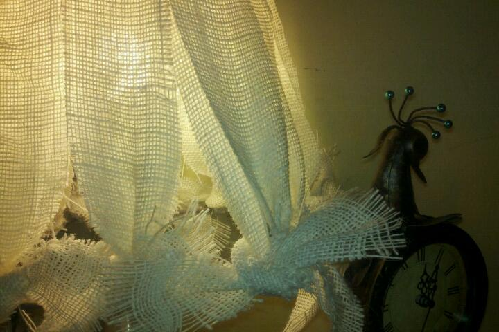 diy burlap lamp shade so easy and looks great more shabby cowgirl chic, crafts, Shabby Cowgirl Chic Burlap Lamp Shade