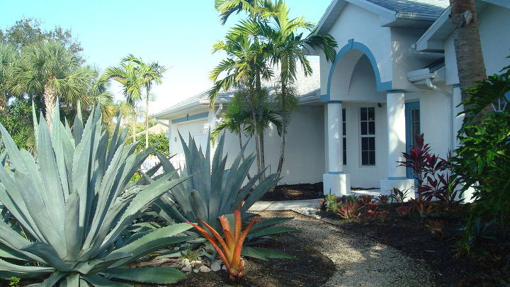 my garden in fl, gardening, landscape, have house on 1 2 acre front yard grass died so I created low moisture garden with connecting paths using bromeliads agaves and other tropical plants half property is lawn but front and 1 side are tropical garden put house up for sale for 258 000 and not sure about leaving garden intact is it overwhelming does the garden make it unsaleable