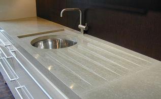 verdicrete countertop with built in drain grooves, countertops