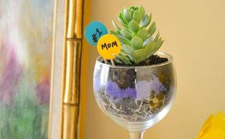 wine glass succulent planter, crafts, flowers, gardening, succulents