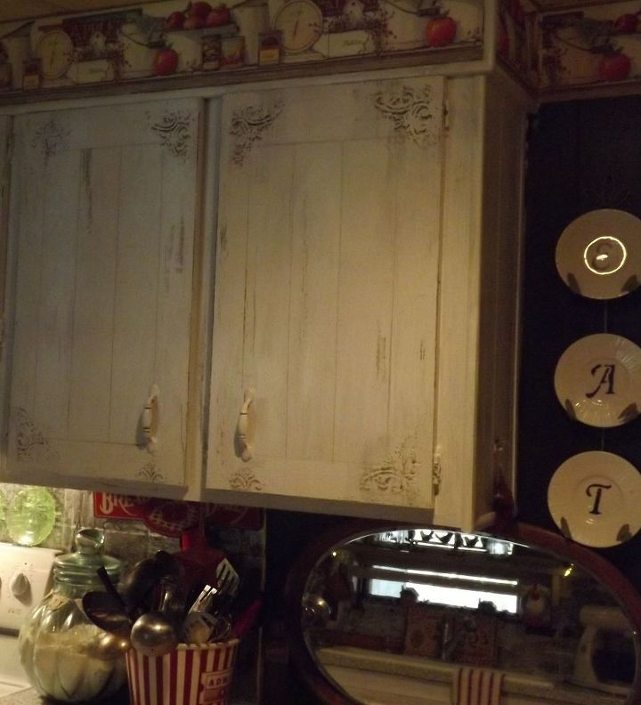 flat wooden cabinets get a farmhouse makeover for about 9 00, home decor, kitchen cabinets, kitchen design, painting