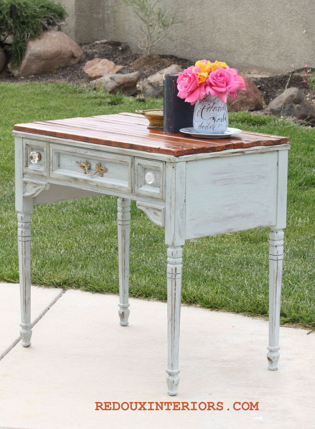 sewing table makeover with side of the road planks, painted furniture, repurposing upcycling, rustic furniture